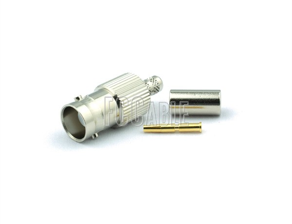 RF BNC Female Connector CRIMP For RG55, RG142, RG223, RG400