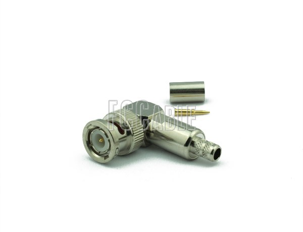 RF BNC Male Connector Right Angle CRIMP For RG59, RG62, RG140, RG210
