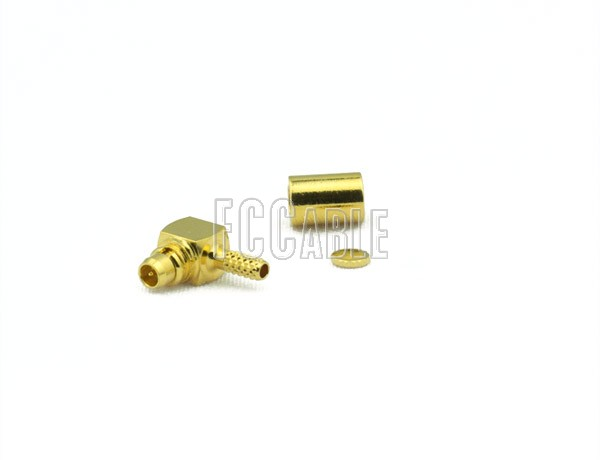 RF MMCX Plug Connector Right Angle CRIMP For RG178, RG196