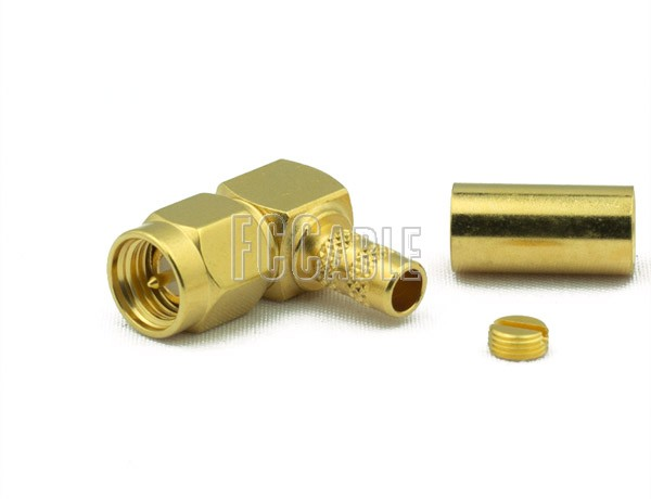 SMA Male Connector Right Angle CRIMP For RG8X, LMR240, B7808A
