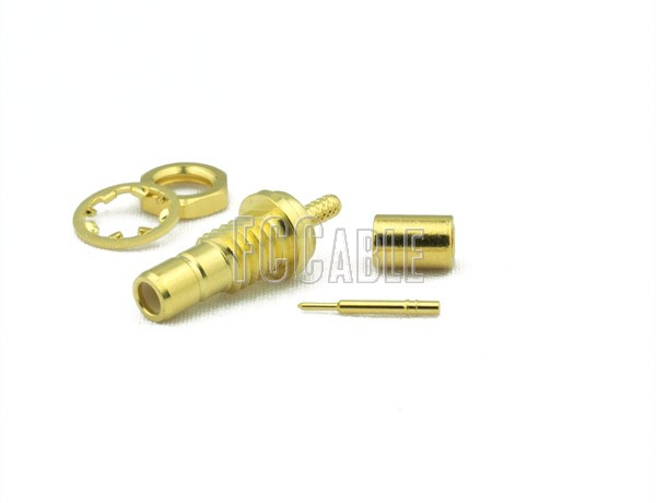 SMB Jack Connector Bulkhead CRIMP For RG178, RG196
