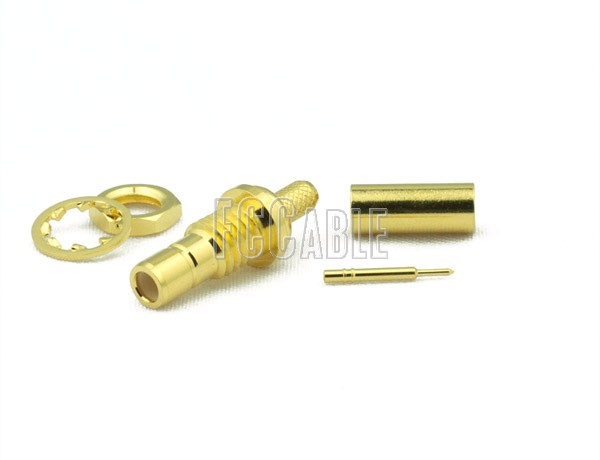 SMB Jack Connector Bulkhead CRIMP For RG188DS, RG316DS