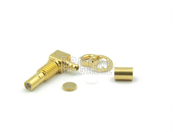 SSMB Jack Connector Bulkhead Right Angle CRIMP For RG178, RG196