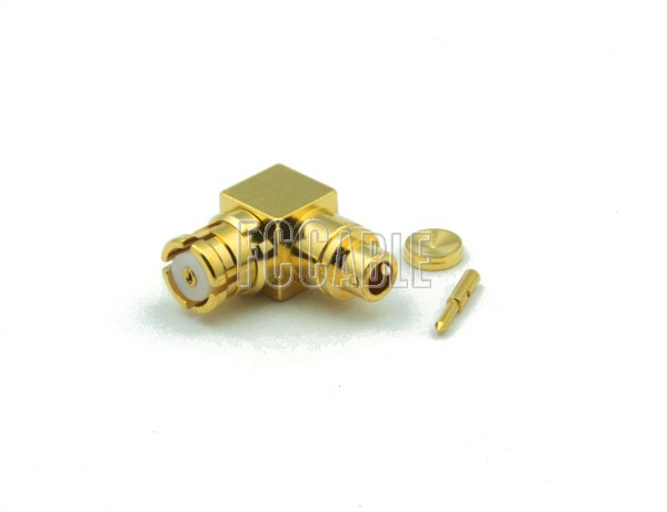 SMP Female Connector Right Angle For RG178, RG196