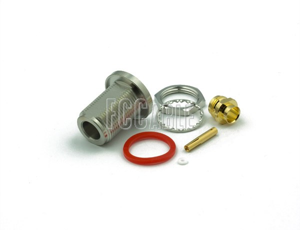 N Female Connector Bulkhead SOLDER/CLAMP Mntg Fig. O-9 For RG401, RG401AL, RG401FL