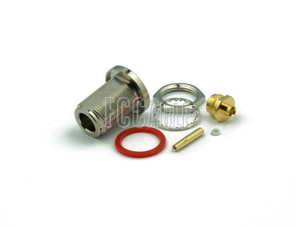 N Female Connector Bulkhead SOLDER/CLAMP Mntg Fig. O-9 For RG402, RG402AL, RG402FL