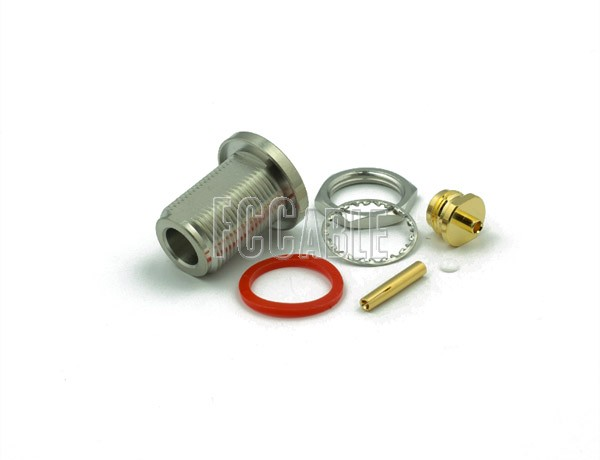 N Female Connector Bulkhead SOLDER/CLAMP Mntg Fig. O-9 For RG405, RG405AL, RG405FL