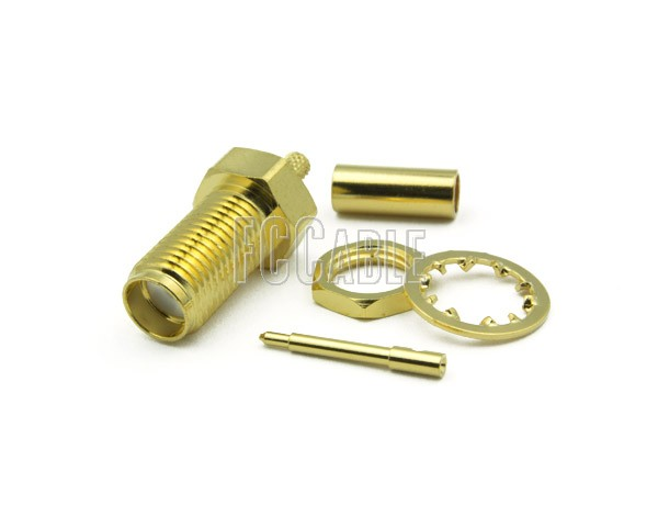 RF SMA Reverse Polarity Female Connector Bulkhead CRIMP For RG58, RG141, RG303, LMR195, B7806A