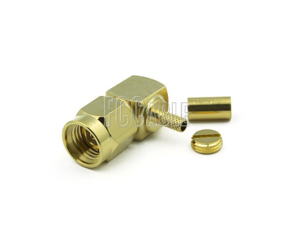 RF SMA Reverse Polarity Male Connector Right Angle CRIMP For RG174, RG188, RG316, B7805A