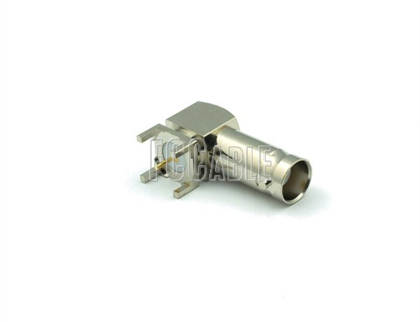 BNC Female Connector Right Angle PCB-MOUNT RECEPTACLE-METALBODY